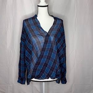 Zara • Plaid Sheer Wrap Blouse